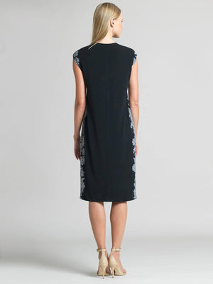 Lace Trim Print Silhouette V-Neck Dress
