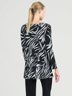 Clara Sunwoo Leaf Sketch Color Black Tunic, Black/White