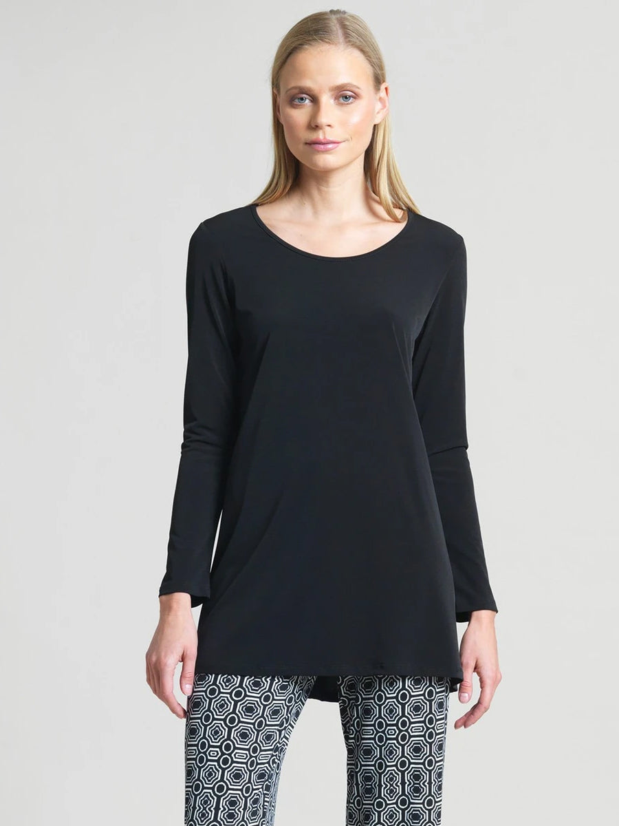 Clara Sunwoo Long Sleeve Scoop Neck Tunic, Black