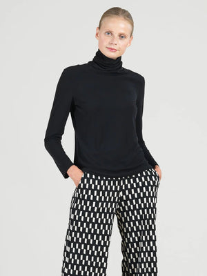 Long Sleeve Turtleneck Top, Black