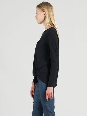 Clara Sunwoo Modal Cotton Twist Hem Top, Black