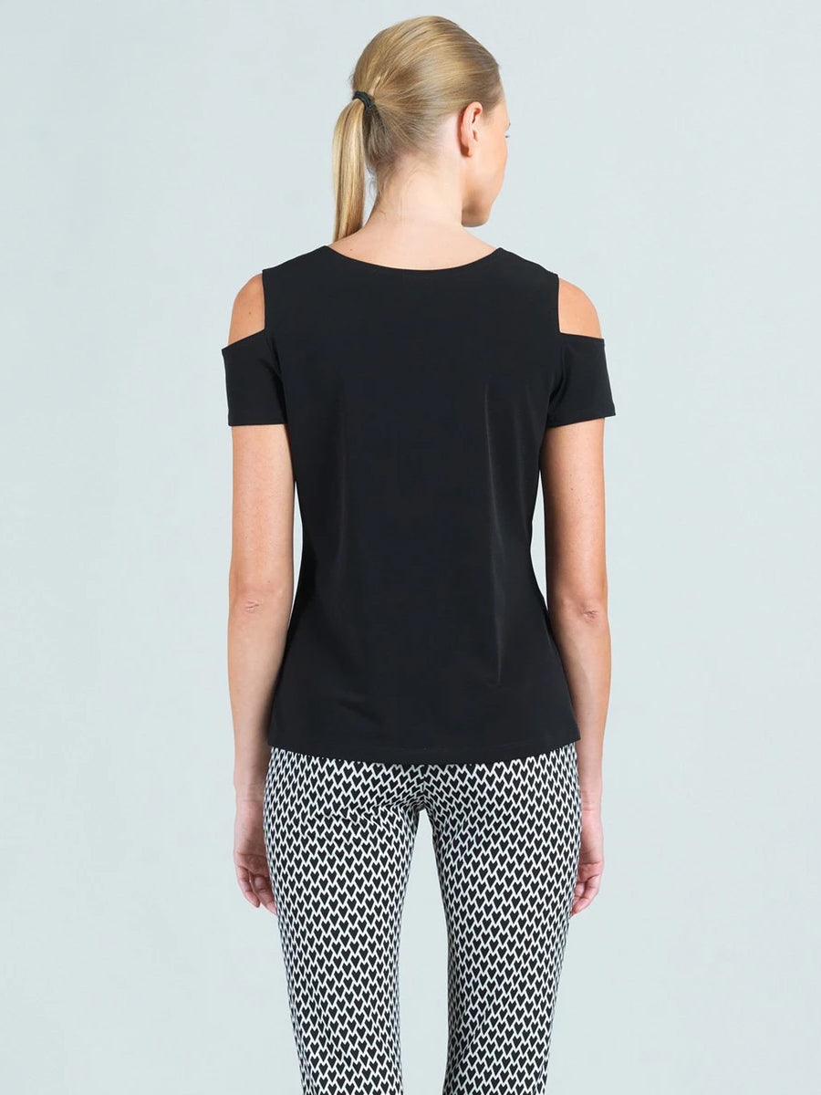 Clara Sunwoo Open Shoulder Short Sleeve Top, Black - Statement Boutique