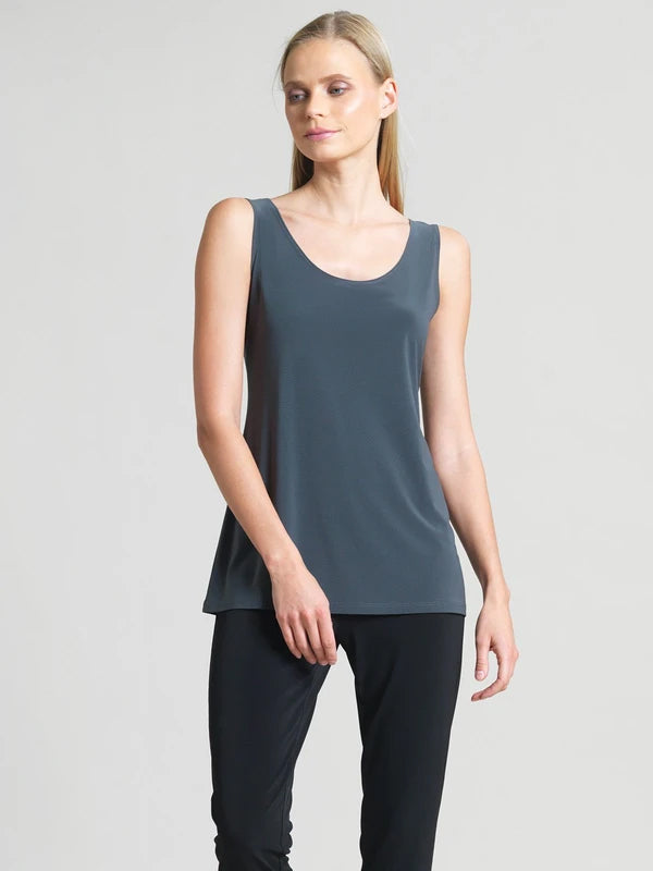 Clara Sunwoo Scoop Neck Mid-Hip Length Tank, Charcoal