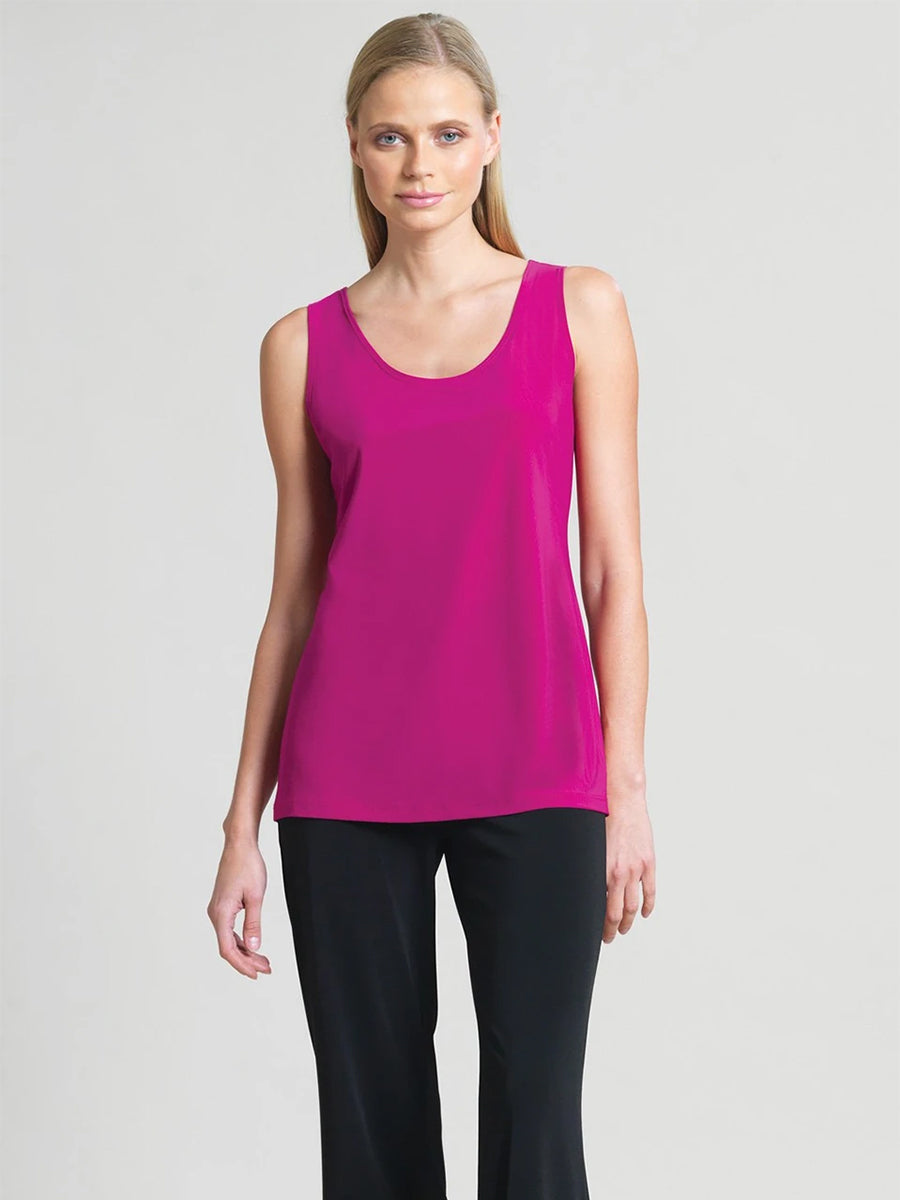 Clara Sunwoo Scoop Neck Mid-Hip Length Tank, Magenta - Statement Boutique