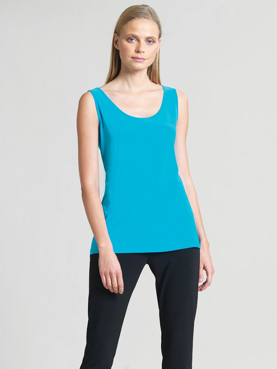 Clara Sunwoo Scoop Neck Mid-Hip Length Tank, Turquoise - Statement Boutique