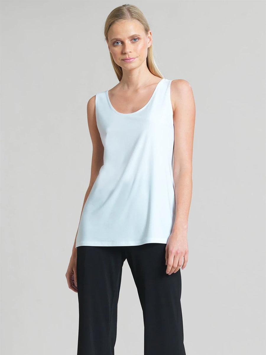 Clara Sunwoo Scoop Neck Mid-Hip Length Tank, White - Statement Boutique