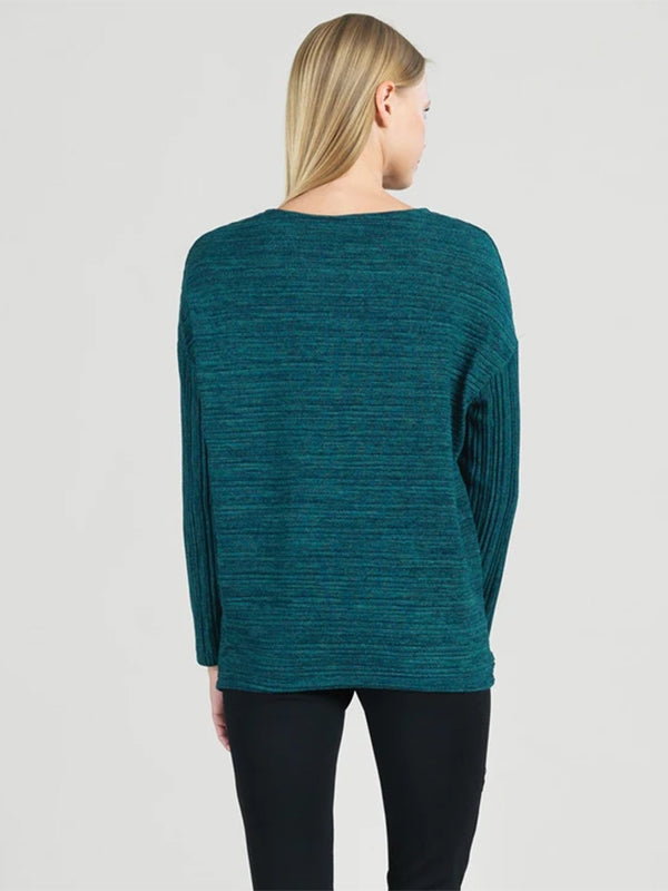 Clara Sunwoo Soft Open Ribbed Sweater Top, Hunter Green