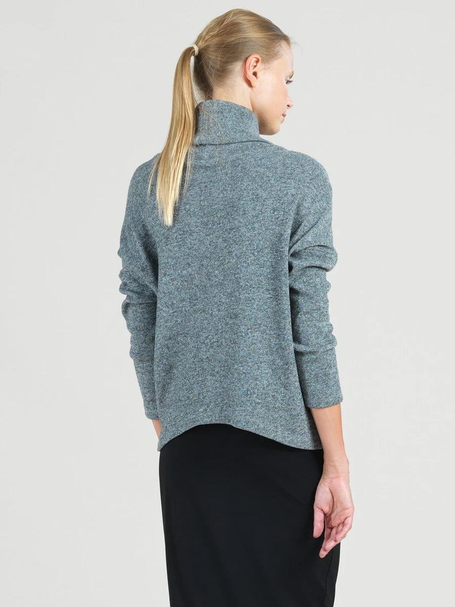 Clara Sunwoo Tipped Hem Turtleneck Sweater Top, Grey