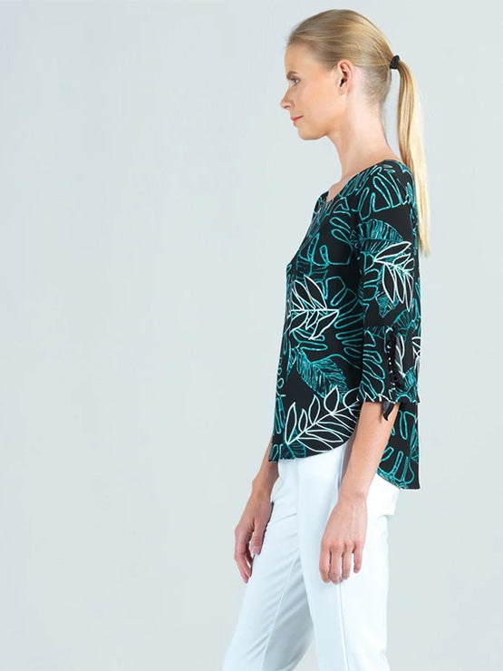 Clara Sunwoo Tropical Leaf Print Tie Cuff Top, Black/Aqua - Statement Boutique