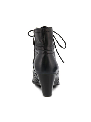 Spring Step Hilde Lace Up Bootie in Black - Statement Boutique