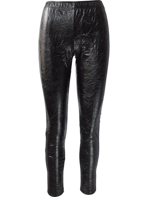 Crushed Faux Leather Legging, Black