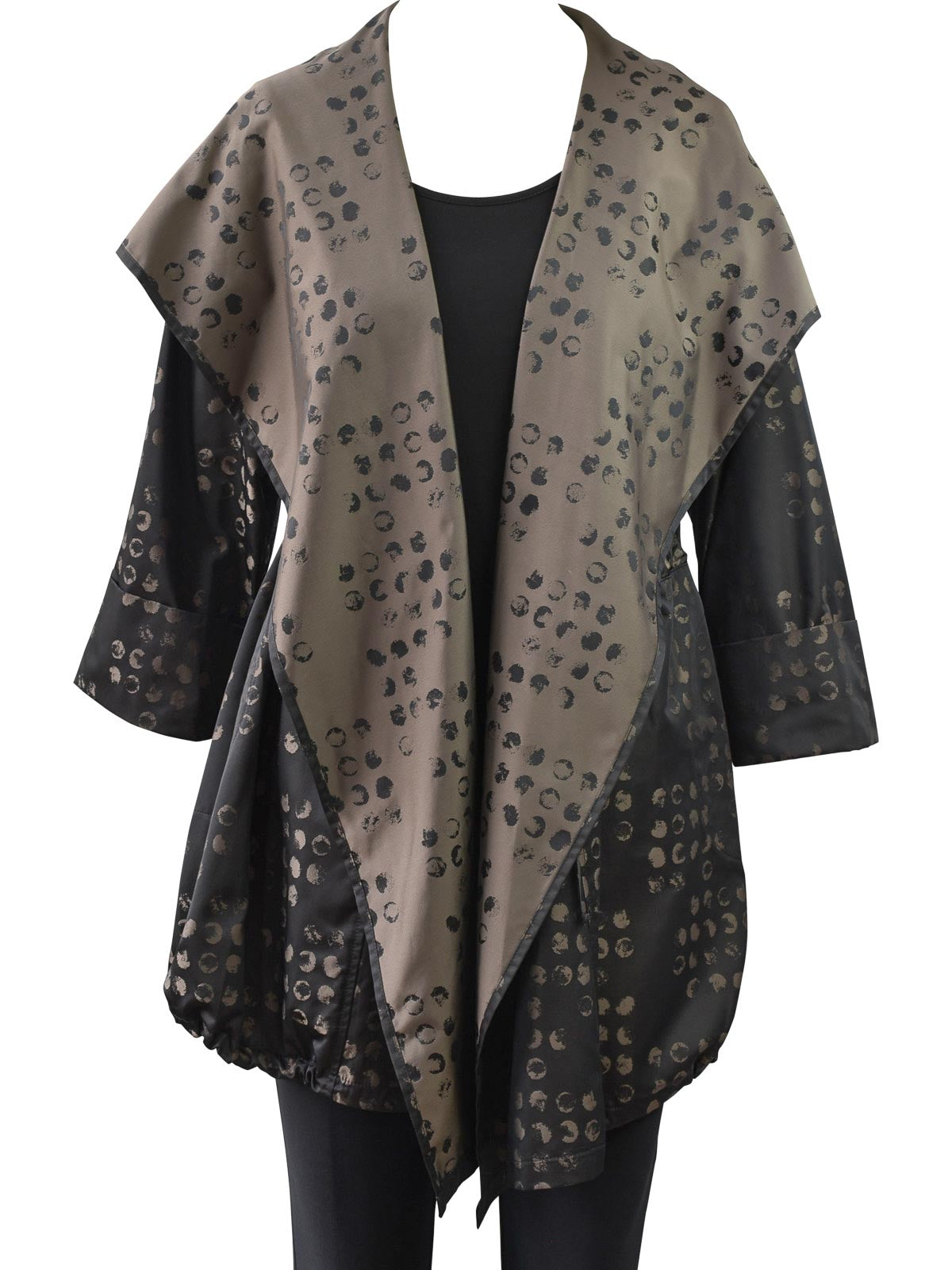 Distress Dot Hoodie Cover Up, Taupe