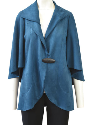 IC Collection Sueded Kimono Sleeve Jacket, Teal - Statement Boutique