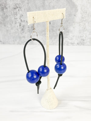 Jianhui London Round Bead Leatherette Drop Earrings, Cobalt Blue - Statement Boutique