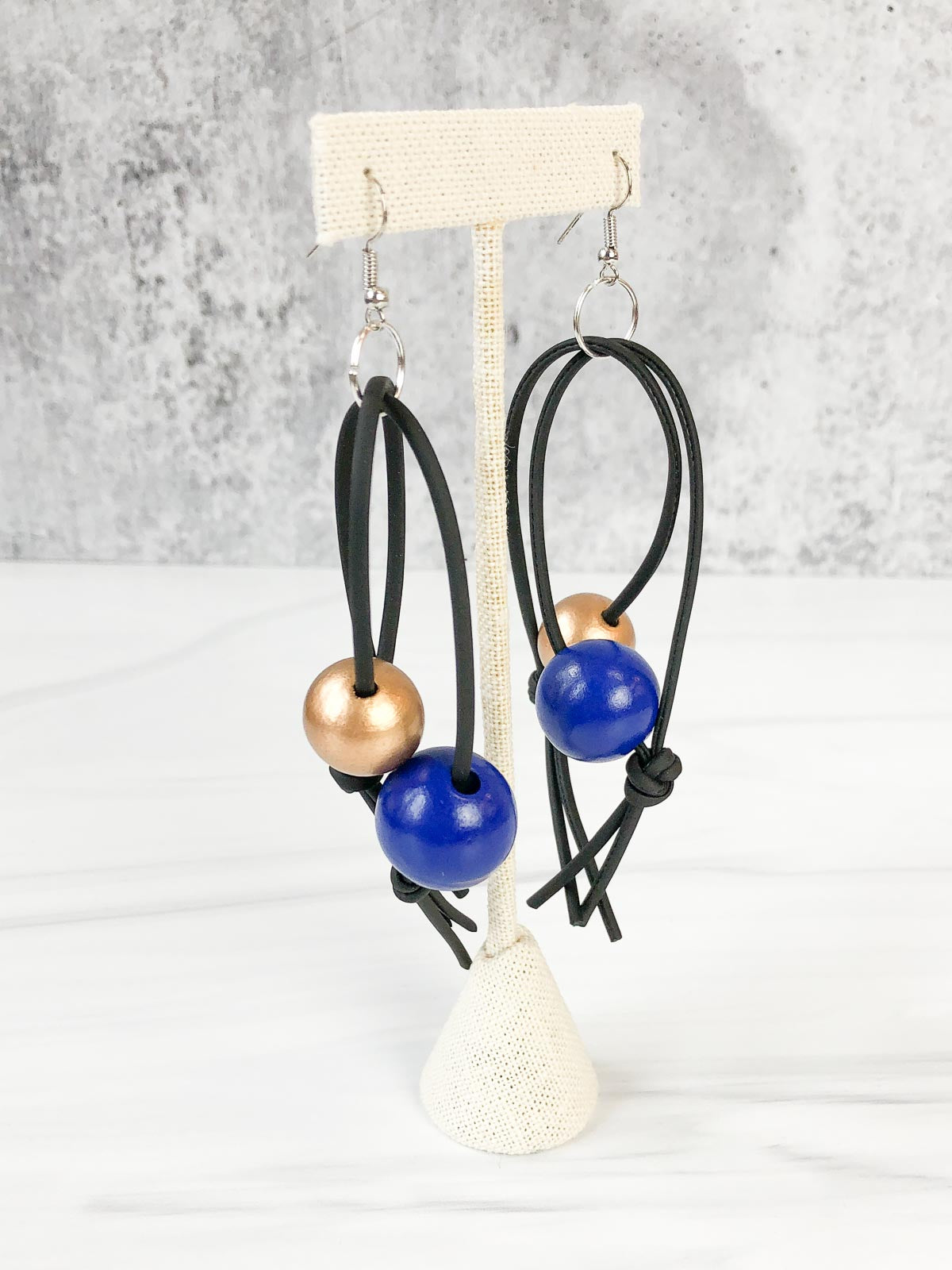 Jianhui London Round Bead Leatherette Drop Earrings, Cobalt Blue/Gold - Statement Boutique