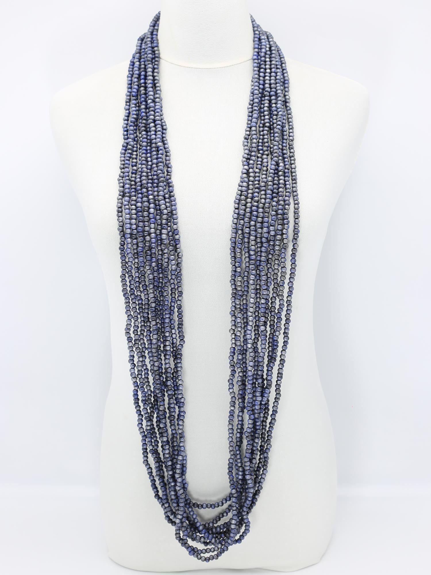 Jianhui London 10 Strand Hand Painted Bead Necklace, Silver/Black/Cobalt Blue - Statement Boutique
