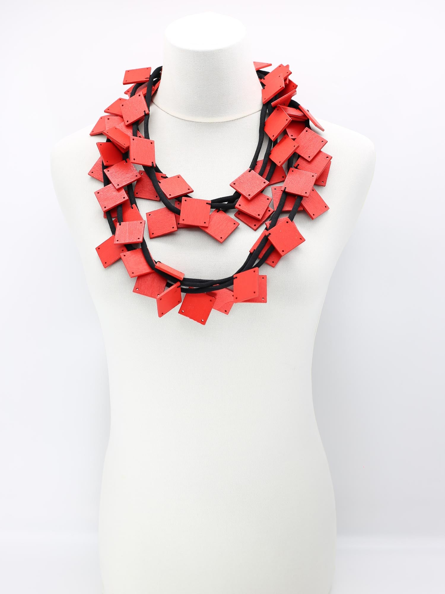 Jianhui London 3 Strand Large Squares on Cord Necklace, Red - Statement Boutique