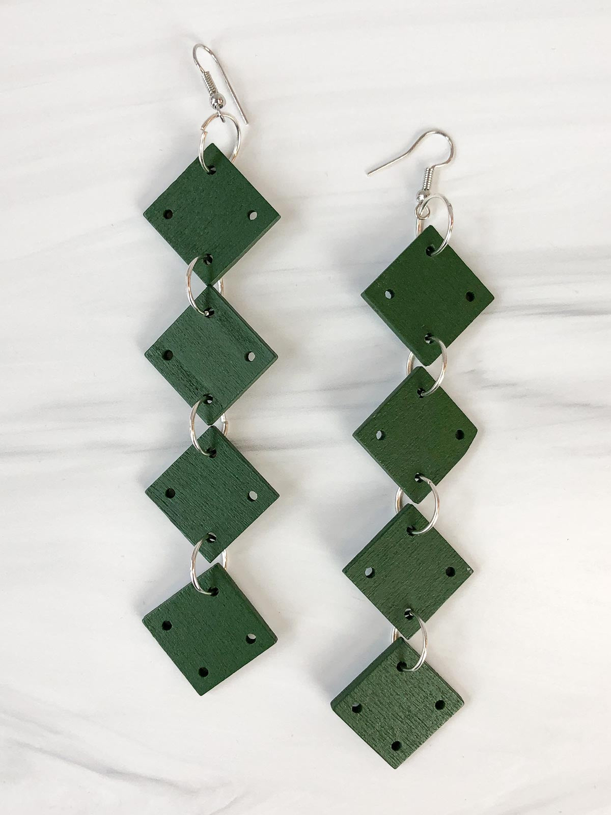 Jianhui London 4 Square Drop Earrings, Racing Green