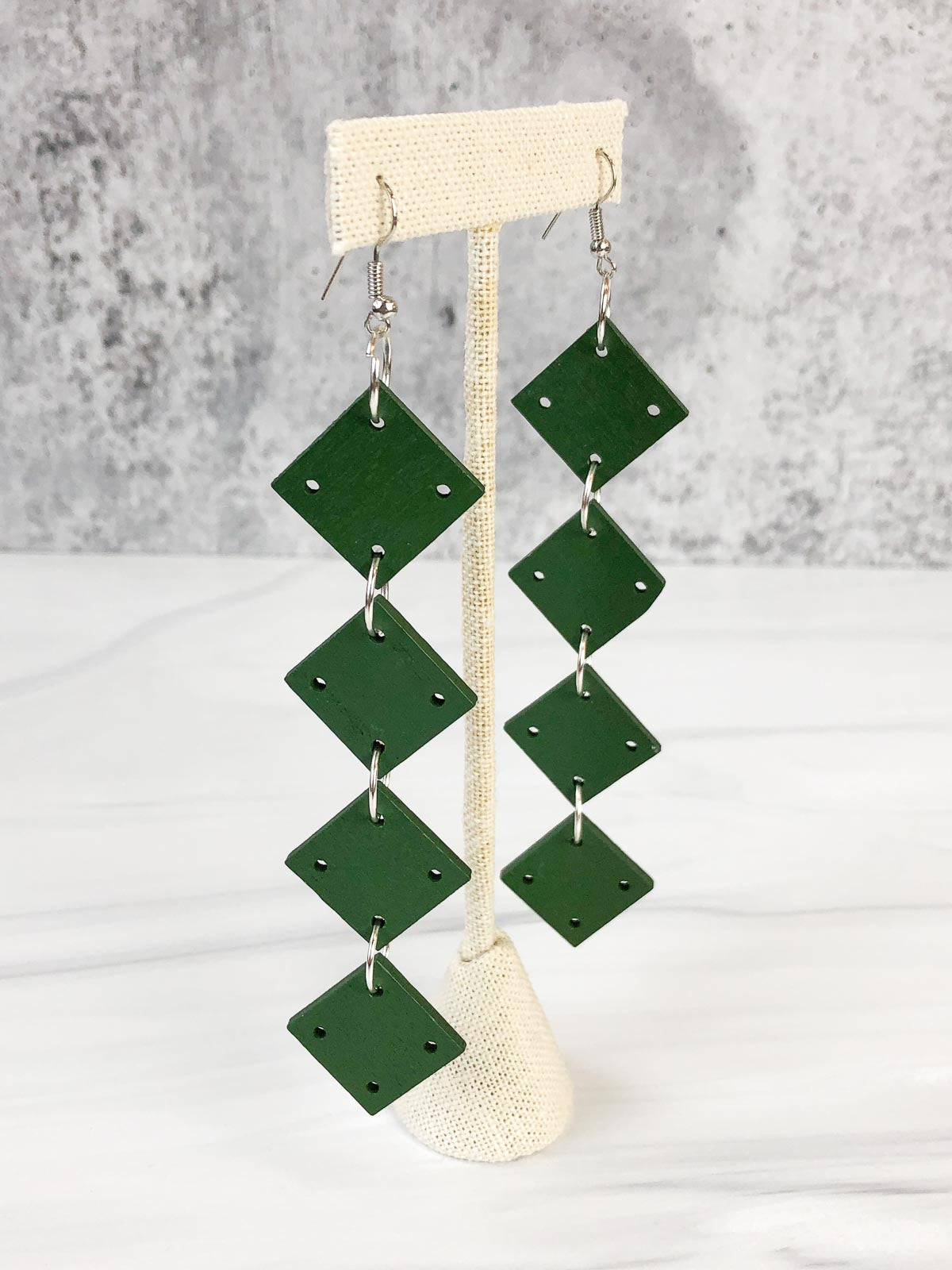 Jianhui London 4 Square Drop Earrings, Racing Green - Statement Boutique