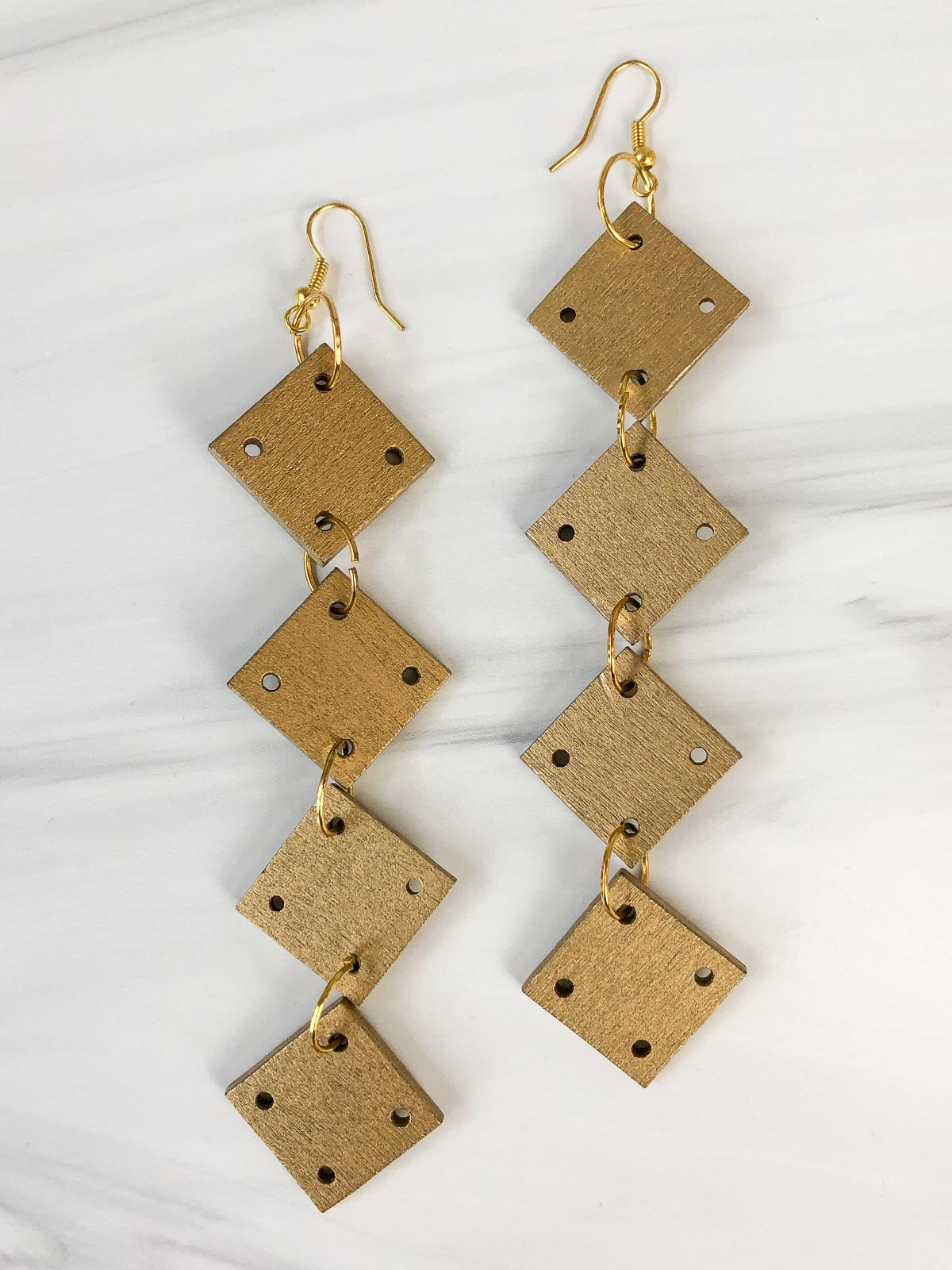 Jianhui London 4 Square Drop Earrings, Gold
