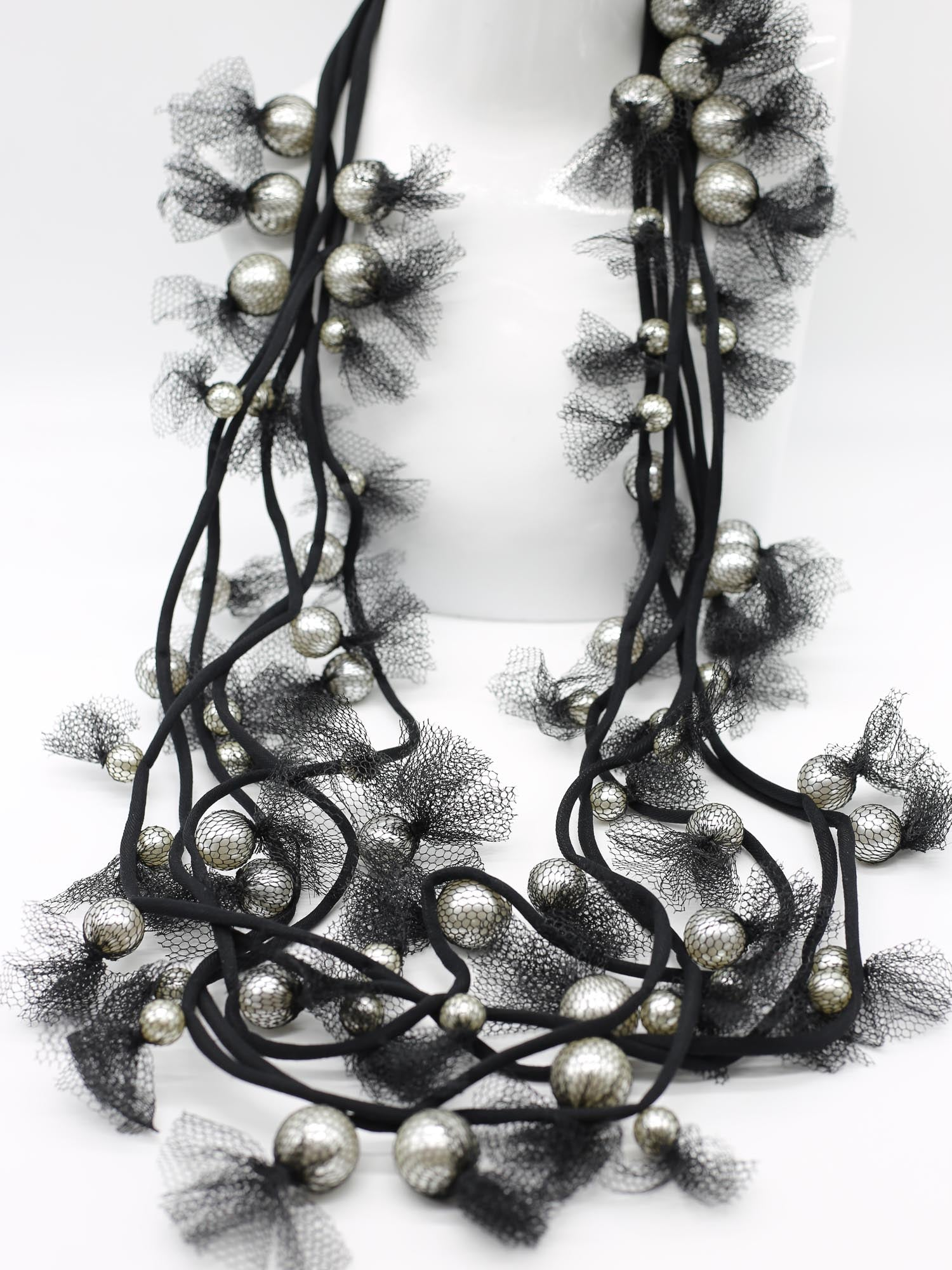 Jianhui London 5 Strand Tulle Wrapped Pearls Necklace, White/Black - Statement Boutique