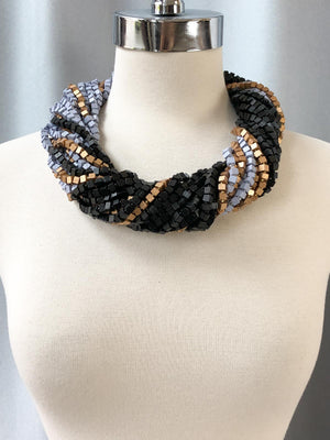 Jianhui London Colorblocked The Next Pashmina Beaded Necklace, Black/Lilac Grey/New Gold - Statement Boutique