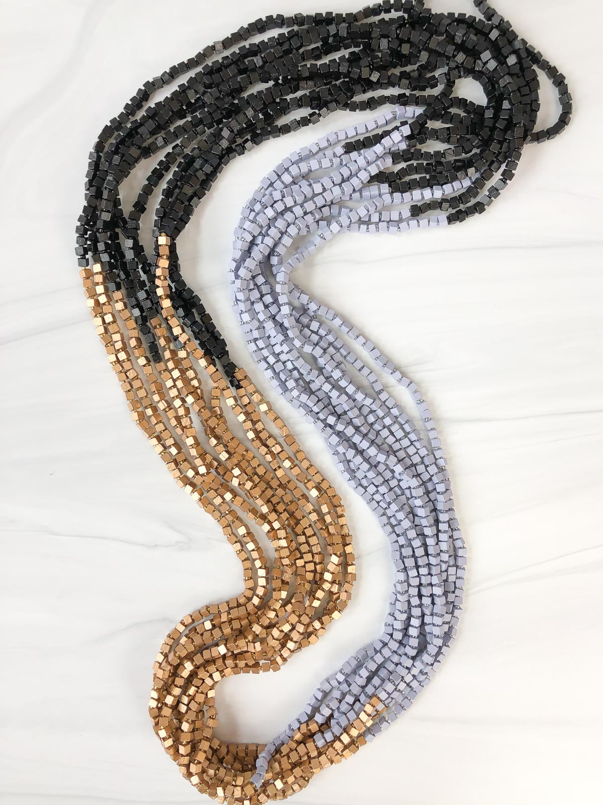 Jianhui London Colorblocked The Next Pashmina Beaded Necklace, Black/Lilac Grey/New Gold