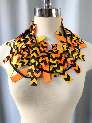 Jianhui London DIRECTION 3 Strand Fabric Necklace, Yellow/Orange