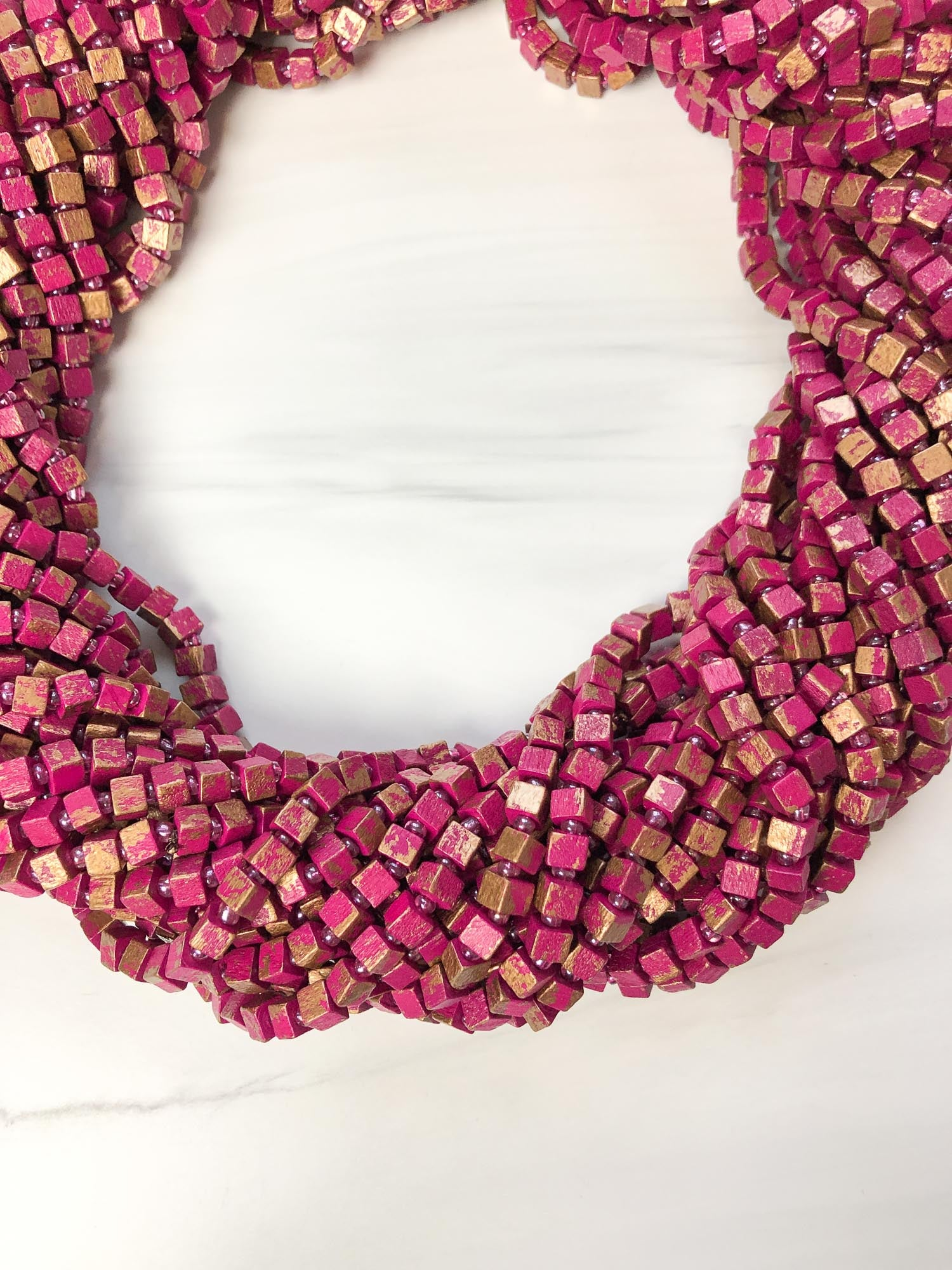 Jianhui London Hand Painted The Next Pashmina Beaded Necklace, Fuchsia/Gold - Statement Boutique