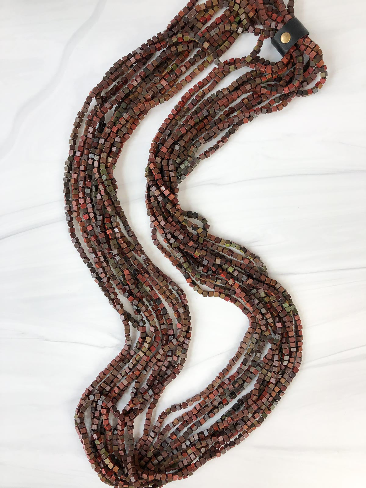Jianhui London Hand Painted The Next Pashmina Beaded Necklace, Wine/Green