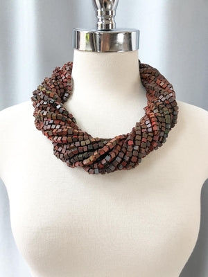 Jianhui London Hand Painted The Next Pashmina Beaded Necklace, Wine/Green - Statement Boutique