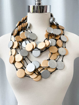 Jianhui London Long 5 Strand Large Coins Necklace, Gold/Silver