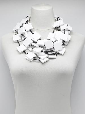 Jianhui London Long 5 Strand Squares Necklace, White - Statement Boutique