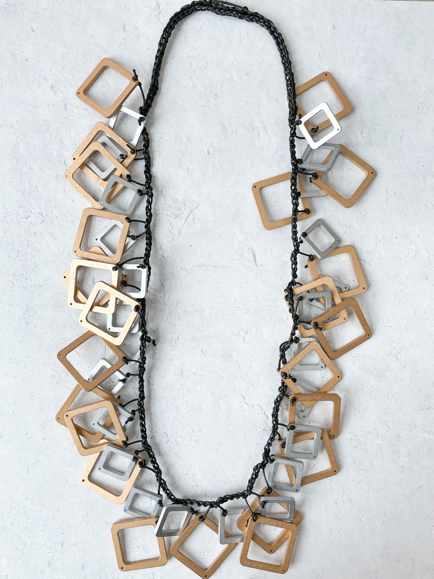 Jianhui London Long Mixed Squares Crochet Necklace, Gold/Silver