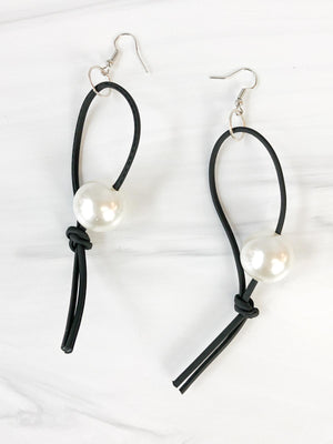 Jianhui London Pearl Leatherette Drop Earrings, White - Statement Boutique