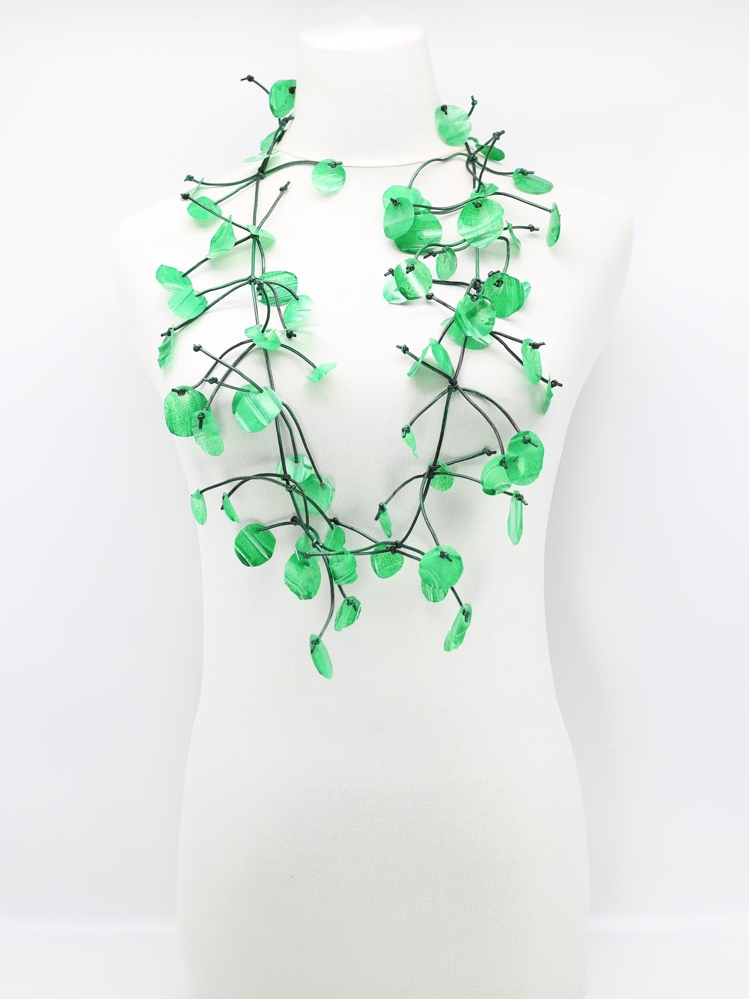 Jianhui London Aqua Water Lily Necklace, Spring Green - Statement Boutique