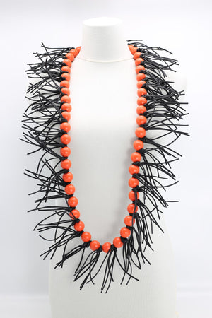 Jianhui London Round Bead Leatherette Spikes Necklace, Orange - Statement Boutique