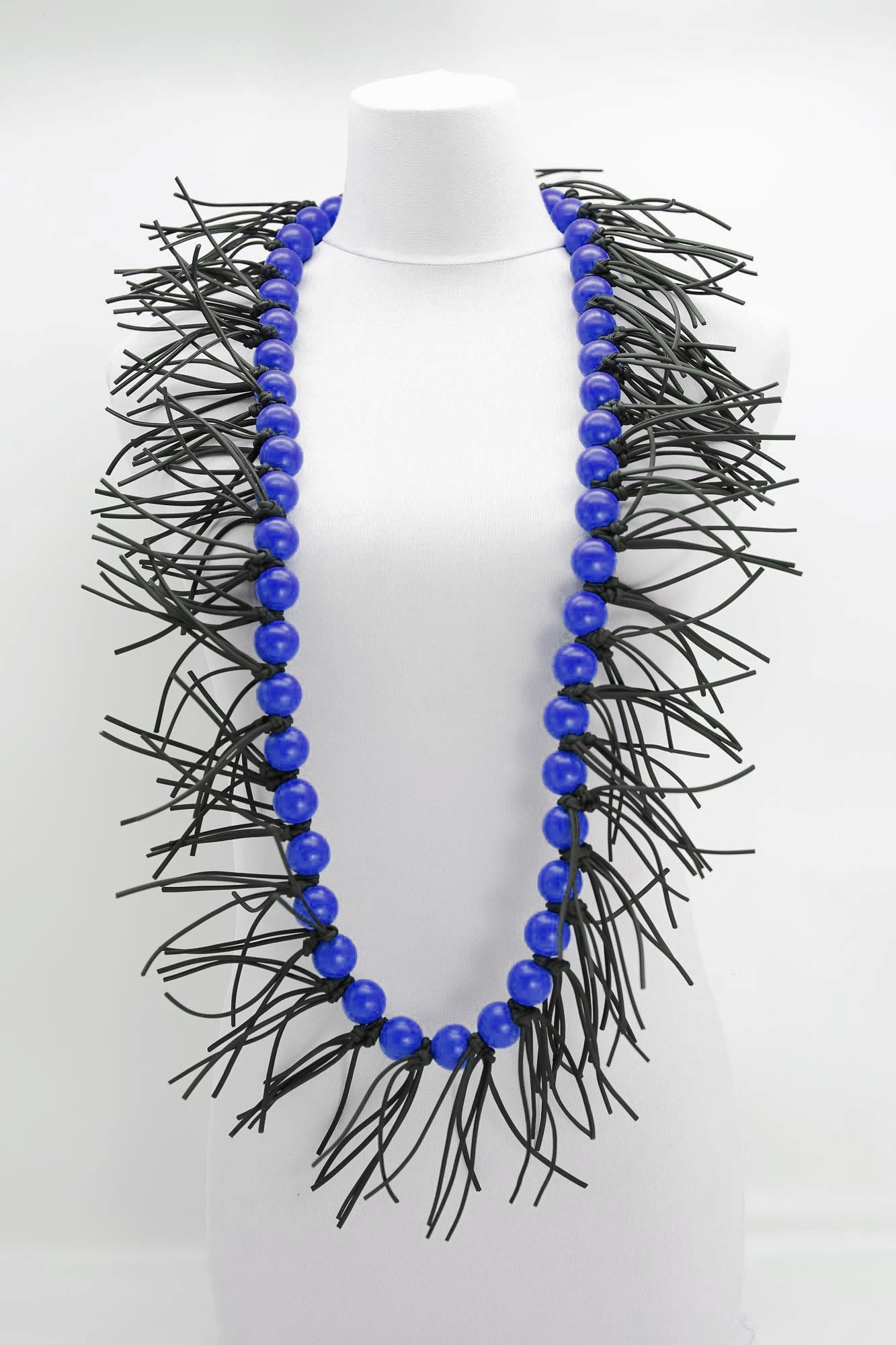 Jianhui London Round Bead Leatherette Spikes Necklace, Cobalt Blue - Statement Boutique