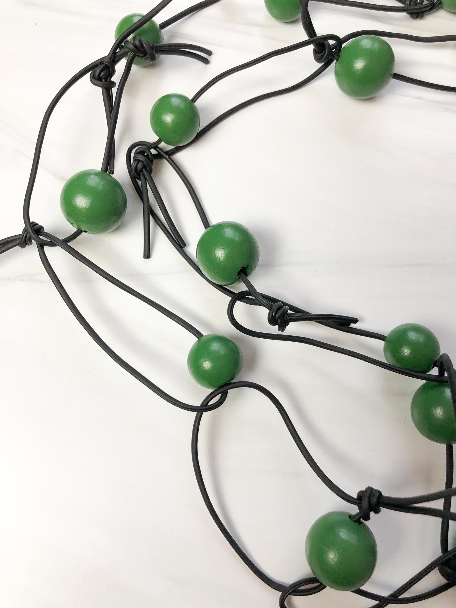 Jianhui London Round Beads & Leatherette Chain Necklace, Spring Green - Statement Boutique