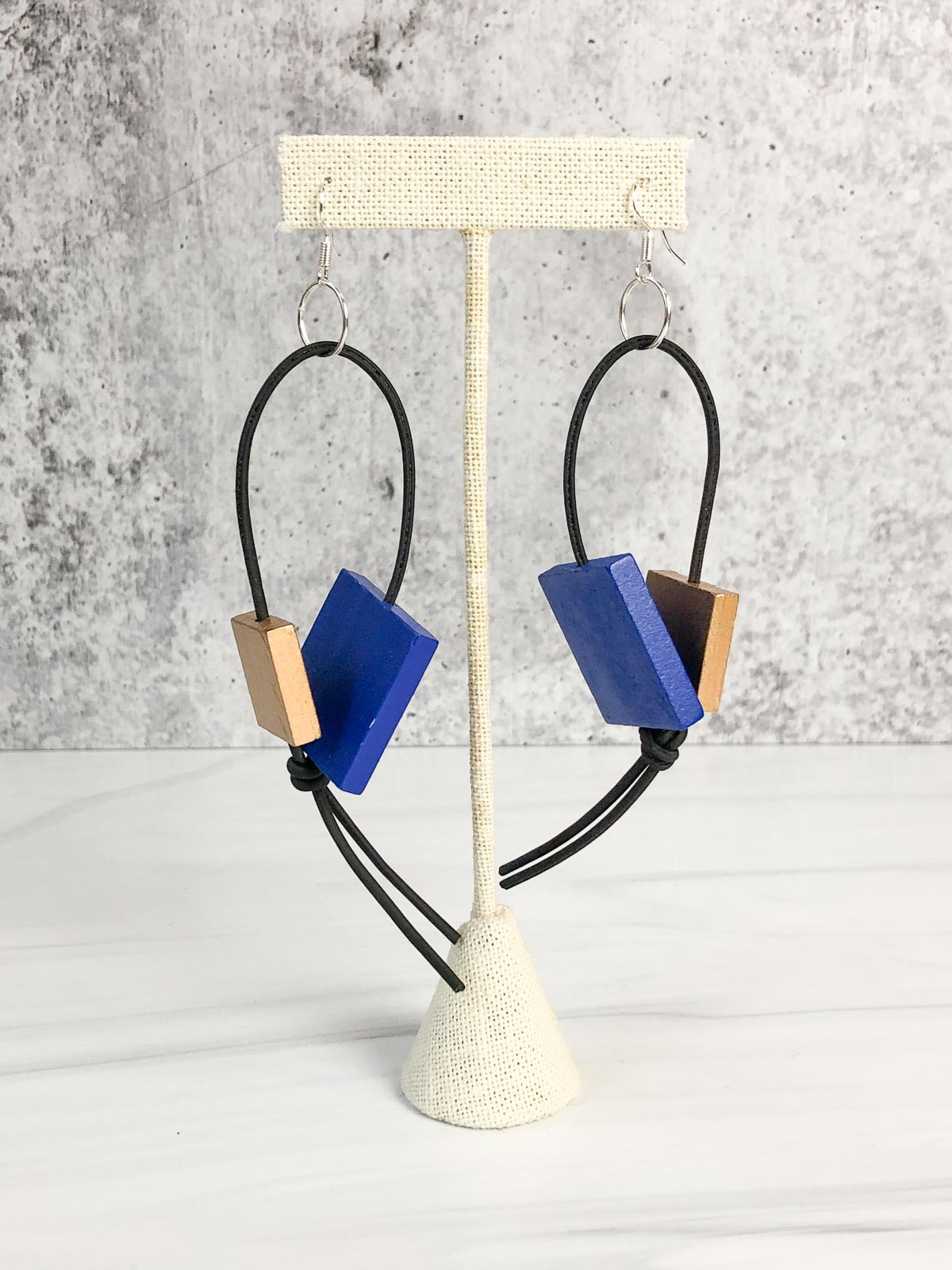 Jianhui London Square Bead Leatherette Drop Earrings, Cobalt Blue/Gold