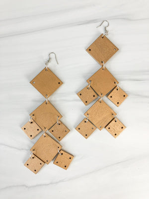 Jianhui London Squares Large Chandelier Earrings, Gold - Statement Boutique