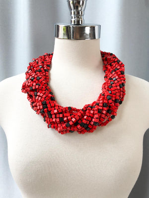 Jianhui London The Next Pashmina Beaded Necklace, Black/Red