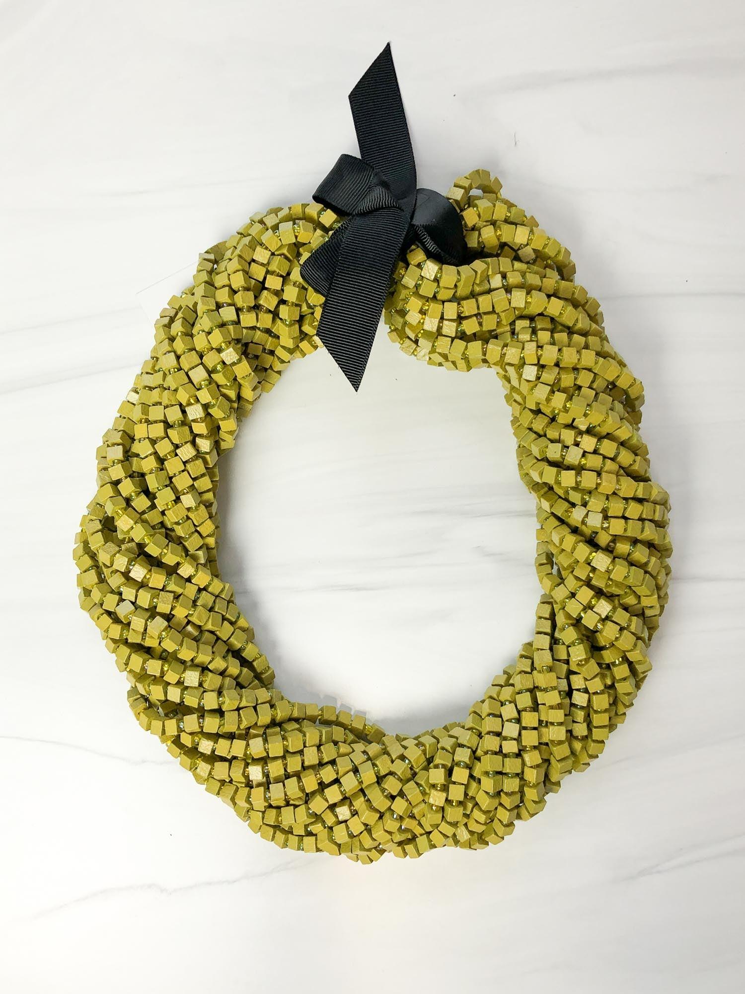 Jianhui London The Next Pashmina Beaded Necklace, Lime - Statement Boutique