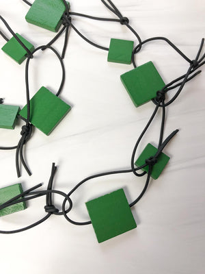 Jianhui London Wooden Squares & Leatherette Necklace, Spring Green - Statement Boutique