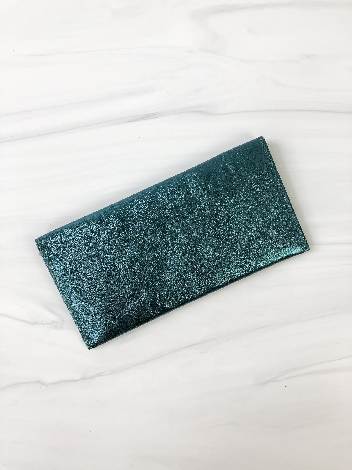 Jijou Capri Bobo Metallic Leather Wallet, Petrol - Statement Boutique