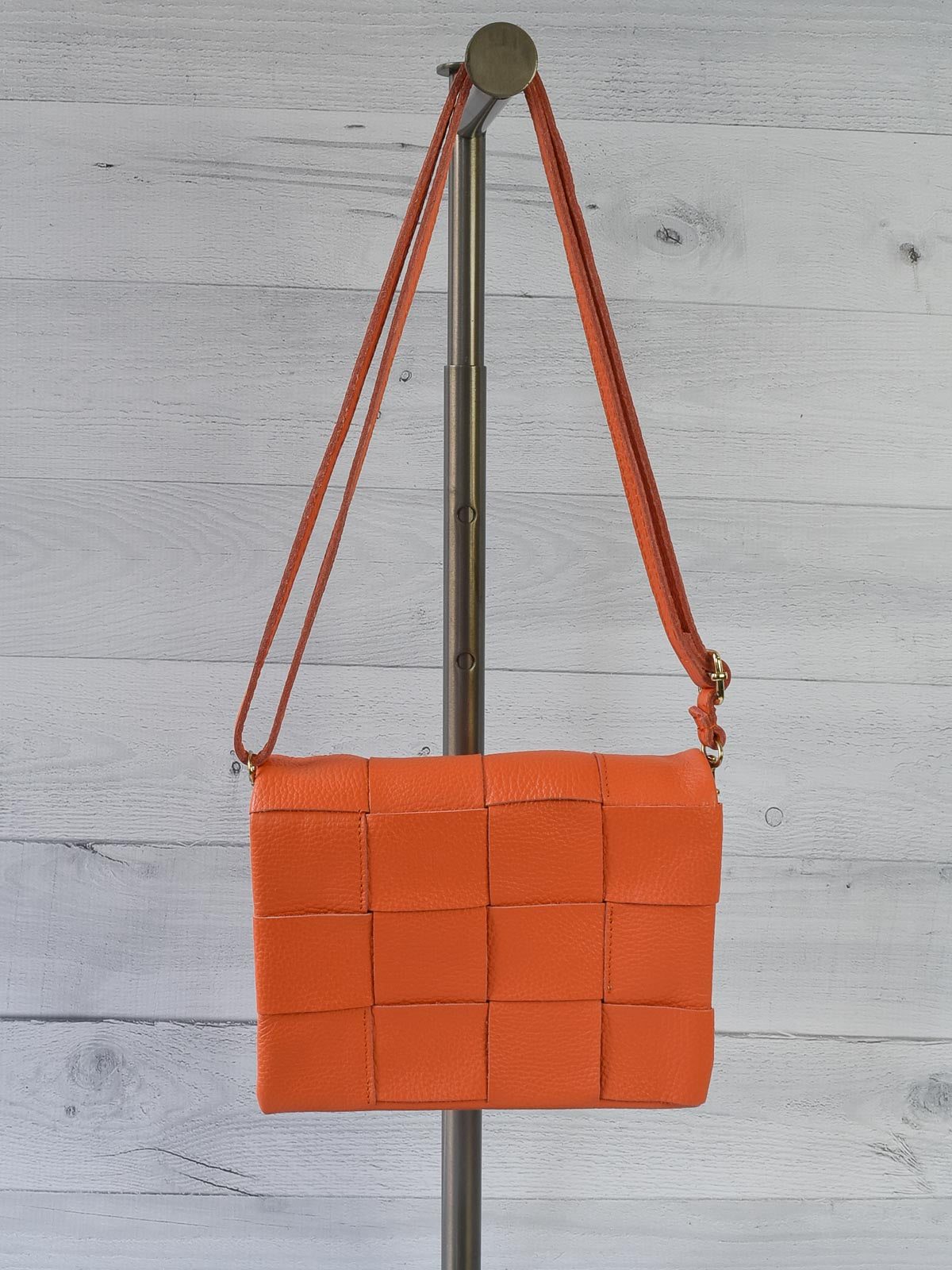 Jijou Capri Damier Woven Leather Crossbody Bag, Orange - Statement Boutique