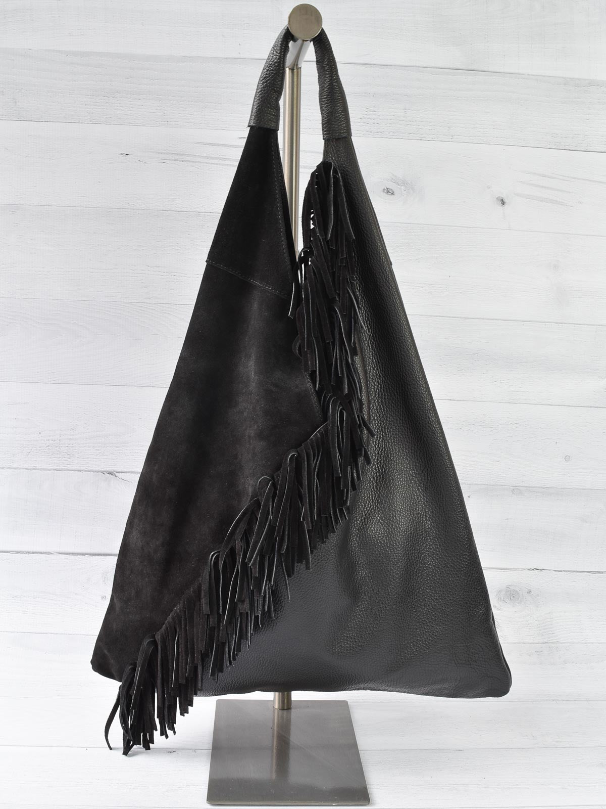 Jijou Capri Gisele Fringed Leather & Suede Hobo, Black - Statement Boutique