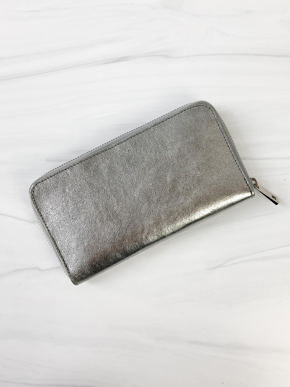 Jijou Capri Kate Metallic Leather Wallet, Silver - Statement Boutique
