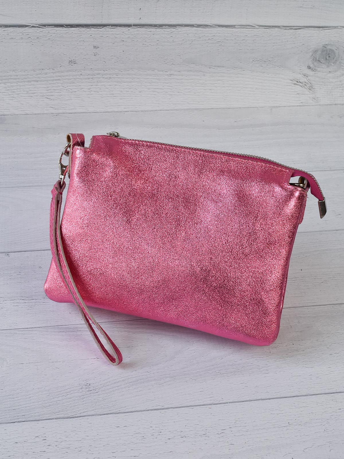 Jijou Capri Elvira Metallic Leather Crossbody Bag, Pink - Statement Boutique