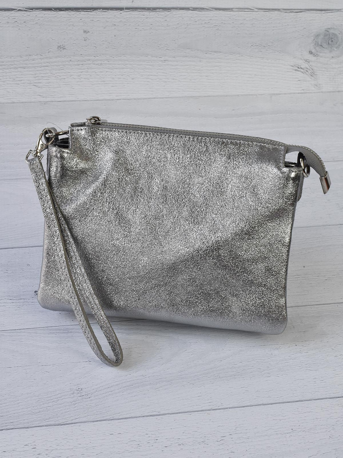 Jijou Capri Elvira Metallic Leather Crossbody Bag, Silver - Statement Boutique